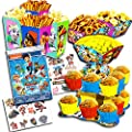 Paw Patrol Party Decorations Set -- Cupcake Stand, Snack Bowls, Snack Boxes, Tattoos (Party Supplies)
