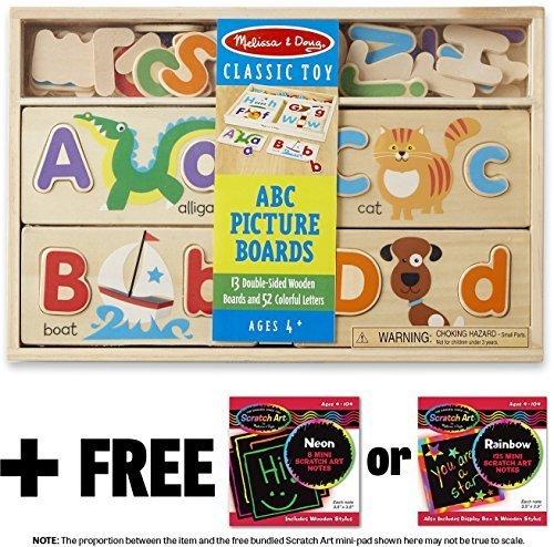 ABC Picture Boards + FREE Melissa & Doug Scratch Art Mini-Pad Bundle - Board Alphabet Picture