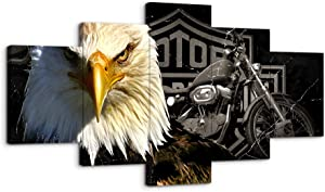 Bald Eagles Motorcycle Wall Art Paintings 5 Panel Large Vintage American Black and White Rustic Prints Posters Home Decor Decal Canvas Pictures Photos for Bedroom Living Room Framed Ready to Hang