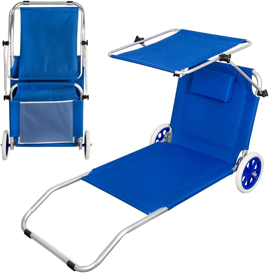 Aktive 62610 - Tumbona carrito de playa plegable 2 en 1 Beach