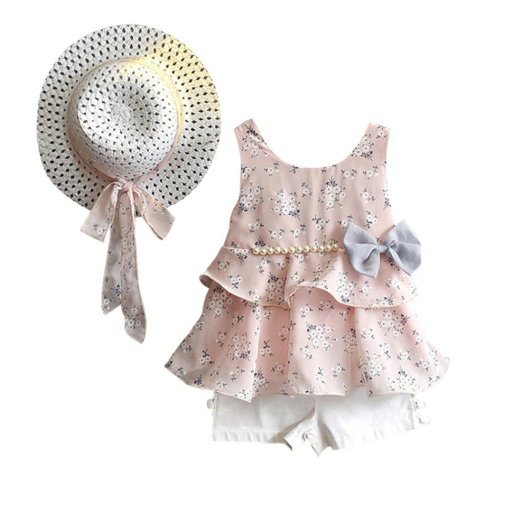 Yalasga 3PCS Little Girls Summer Outfits Clothes Floral Vest T-Shirt Tops +Shorts Pants+Sun Hat Set (Pink, 5T)