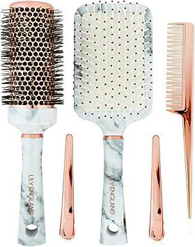 14b12426ef32d9 Lily England Set 3x Brosses à Cheveux Magnifique - Marbre Blanc & Or Rose -  Avec 2x Brosses ...