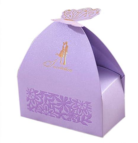 AUTULET Noble Princesa Baby Ducha Decoraciones Boda Fiesta Favor Cajas Personalizado Mariposa Candy Box (Candies