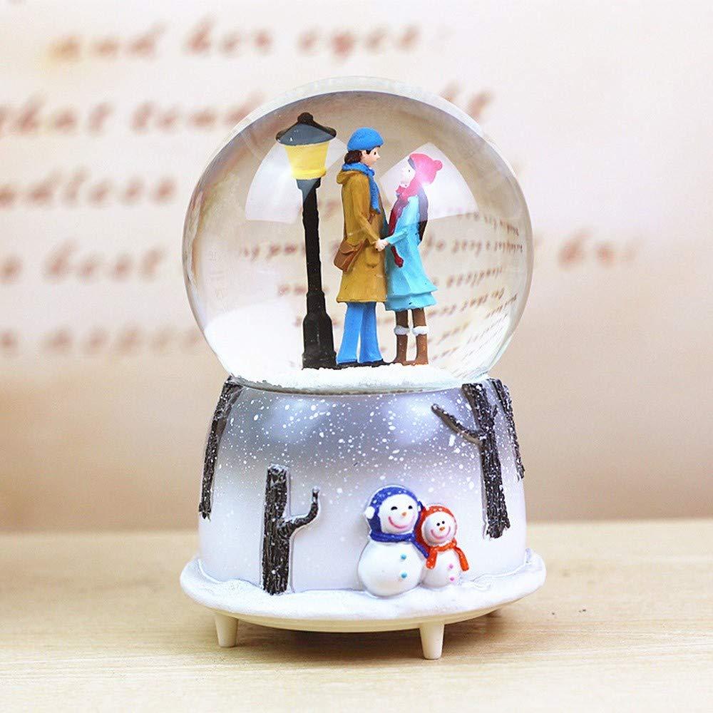 YTRYIKDX Regalo degli Amanti Palla di Neve di Cristallo Ruota Pallina di Neve Luminosa Scatola Musicale Girevole Palla d'Acqua con Fiocco di Neve Matrimonio Compleanno di Natale TGGHY