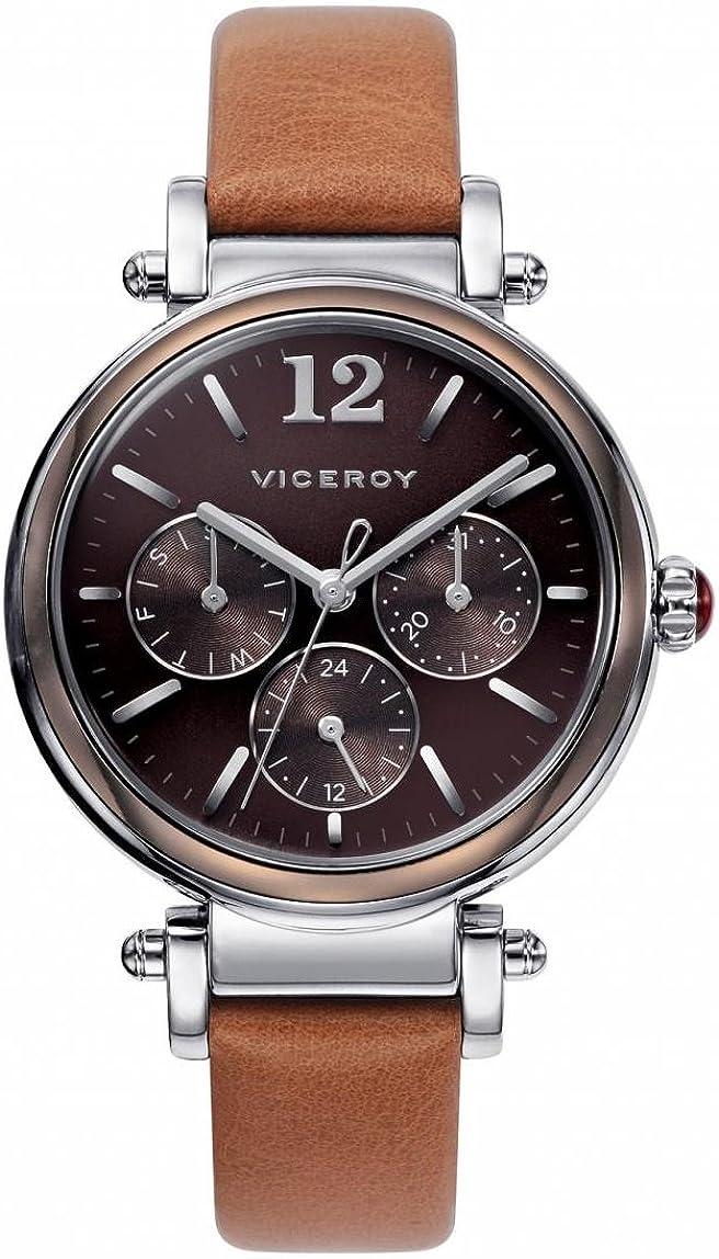 Viceroy 471052-45 - Reloj de mujer de cuarzo, correa de piel color marrón, caja de acero inoxidable