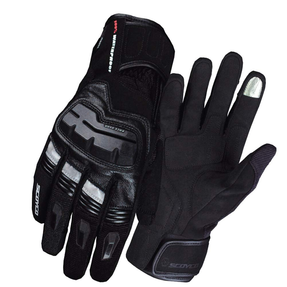 AINIYF Full Finger Motorcycle Gloves | Winter Outdoor Sports Smart Gloves Waterproof Touch Screen For Cold And Warm (Color : Black)