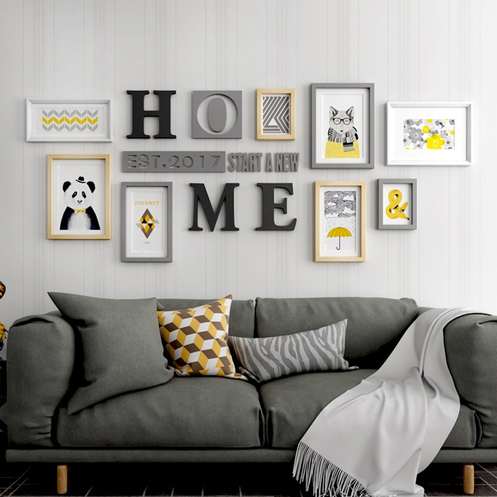 LQQGXL Creative photo wall large living room wood combination frame background wall decoration Photo frame ( Color : Multi-coloredB )