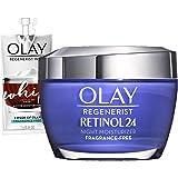 Olay Regenerist Retinol 24 Night Face Moisturizer, Retinol Moisturizer, Vitamin B3, 1.7 Fl Oz + Whip Face Moisturizer, Trial Size .247 Oz