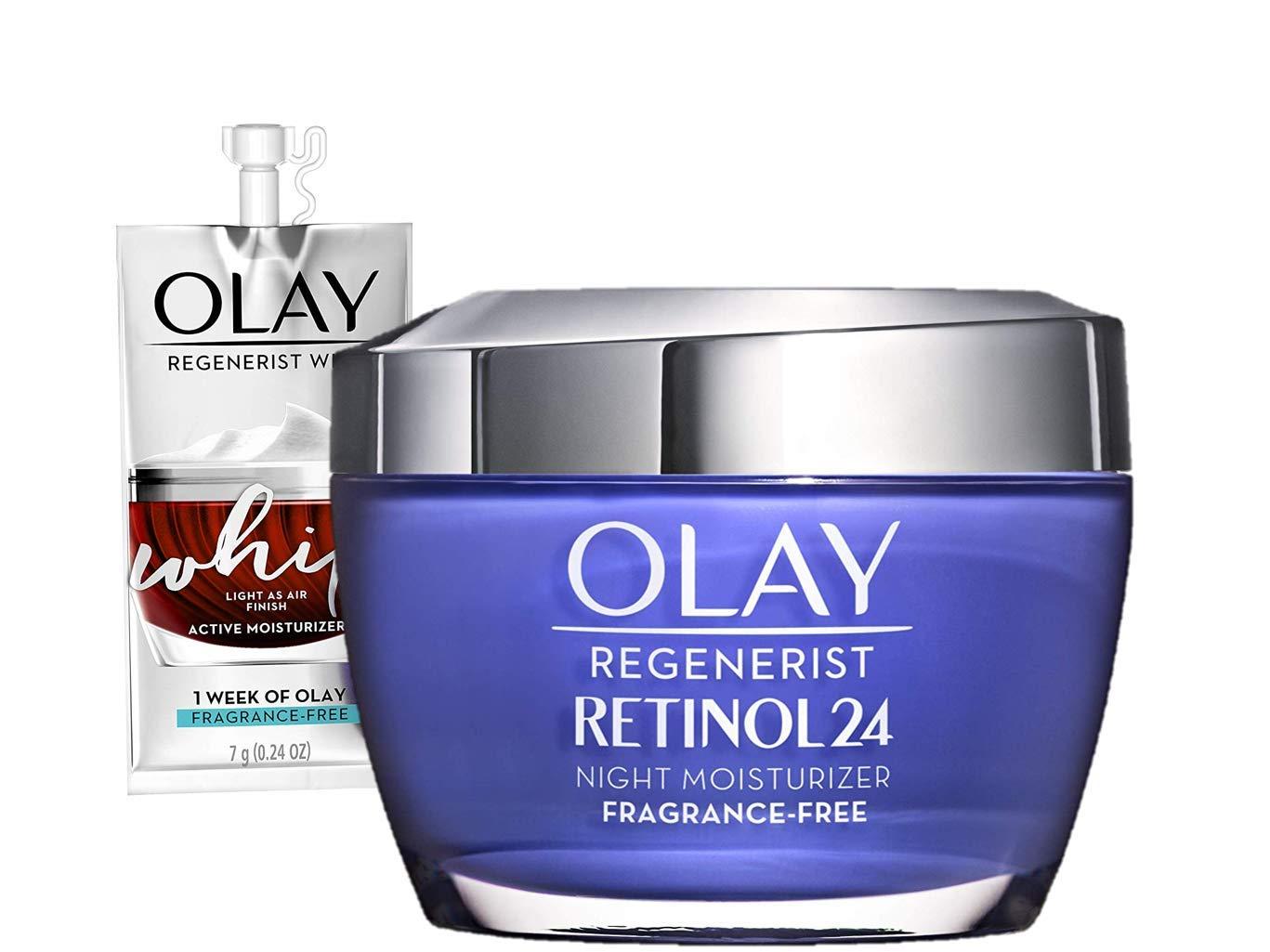 Retinol Moisturizer By Olay, Retinol 24 Night Face Cream, 1.7oz + 1 Week Of Whip Face Moisturizer Travel/Trial Size by Olay