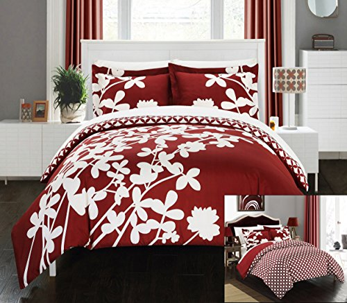 Perfect Home 3 Piece Sweetpea Reversible large scale floral design printed with diamond pattern reverse Queen Duvet Cover Set Red
