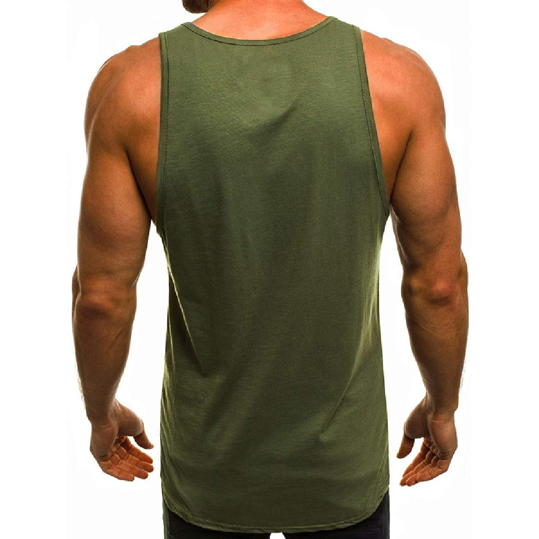 Zimaes-Men Letter Printed Relaxed Fit Sleeveless Athletic Fit Tech Tank
