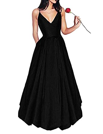 Stillluxury Spaghetti Straps Satin Prom Dresses with Pockets Long Evening Gown Deep V Neck Black Size