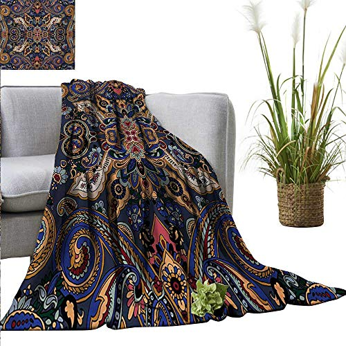 - AndyTours Flannel Fleece Blanket,Paisley,Historical Moroccan Florets with Slavic Effects Heritage Design,Royal Blue and Sand Brown,Throw Lightweight Cozy Plush Microfiber Solid Blanket 50