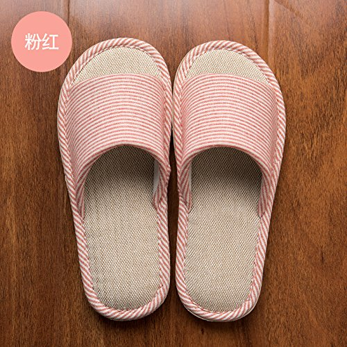 FankouRopa de verano zapatillas Estadía en casa de un piso de madera gruesa, Cubierta antideslizante parejas algodón cool zapatillas de verano ,hembra 37-38,A-Rosa