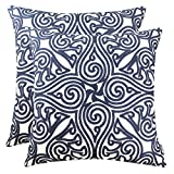 Decorative Pillow Cover - SLOW COW Cotton Embroidery Decorative Throw Pillow Covers, Navy Cushion Covers Throw Pillows for Living Room, 18x18 Inch, Set of 2.