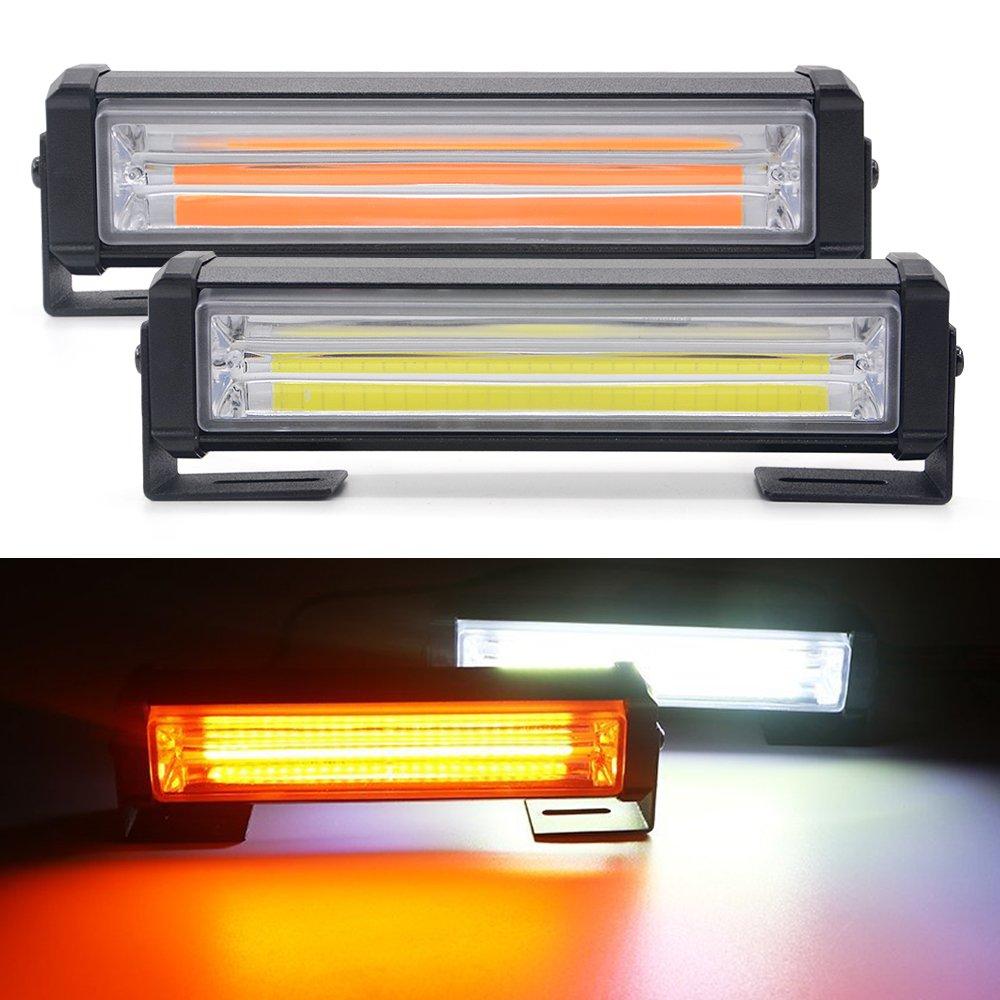 Mesllin White Amber Emergency LED Strobe Light Bar, 40w/set 6 inch Car DC 12V On Off Switch + Adjustable Mounting Bracket