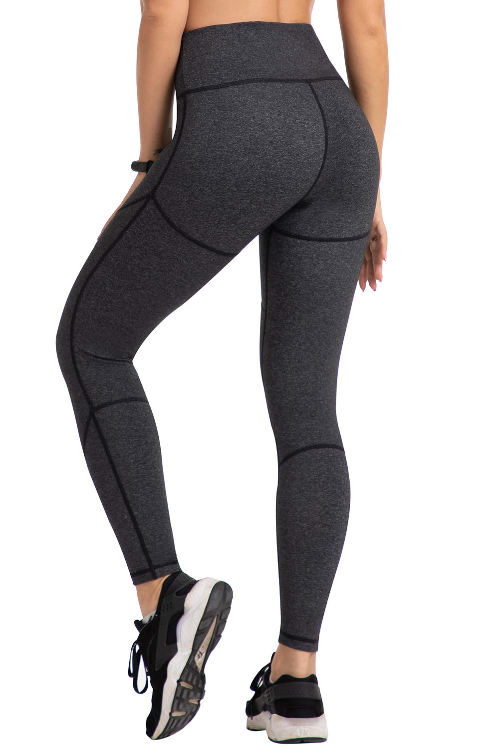 UURUN Women's High Waist Yoga Pants Non See-Through Tummy Control Workout Compression Leggings with 4 Way Stretch Grey-M by UURUN