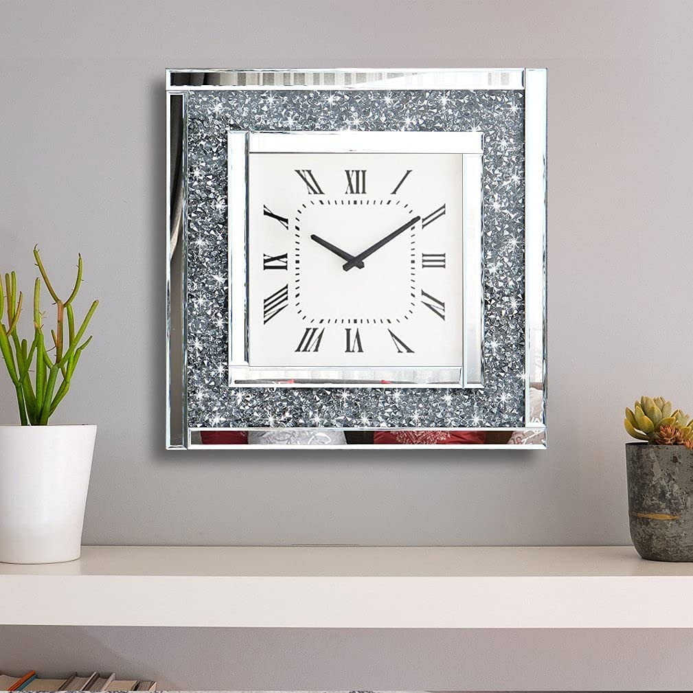 """Crush Diamond Mirrored Square Decorative Mirror Wall Clock for Home Decoration Crystal Sparkle Twinkle Bling Wall Décor. Size 19.7x19.7"""", AA Battery not Included."""
