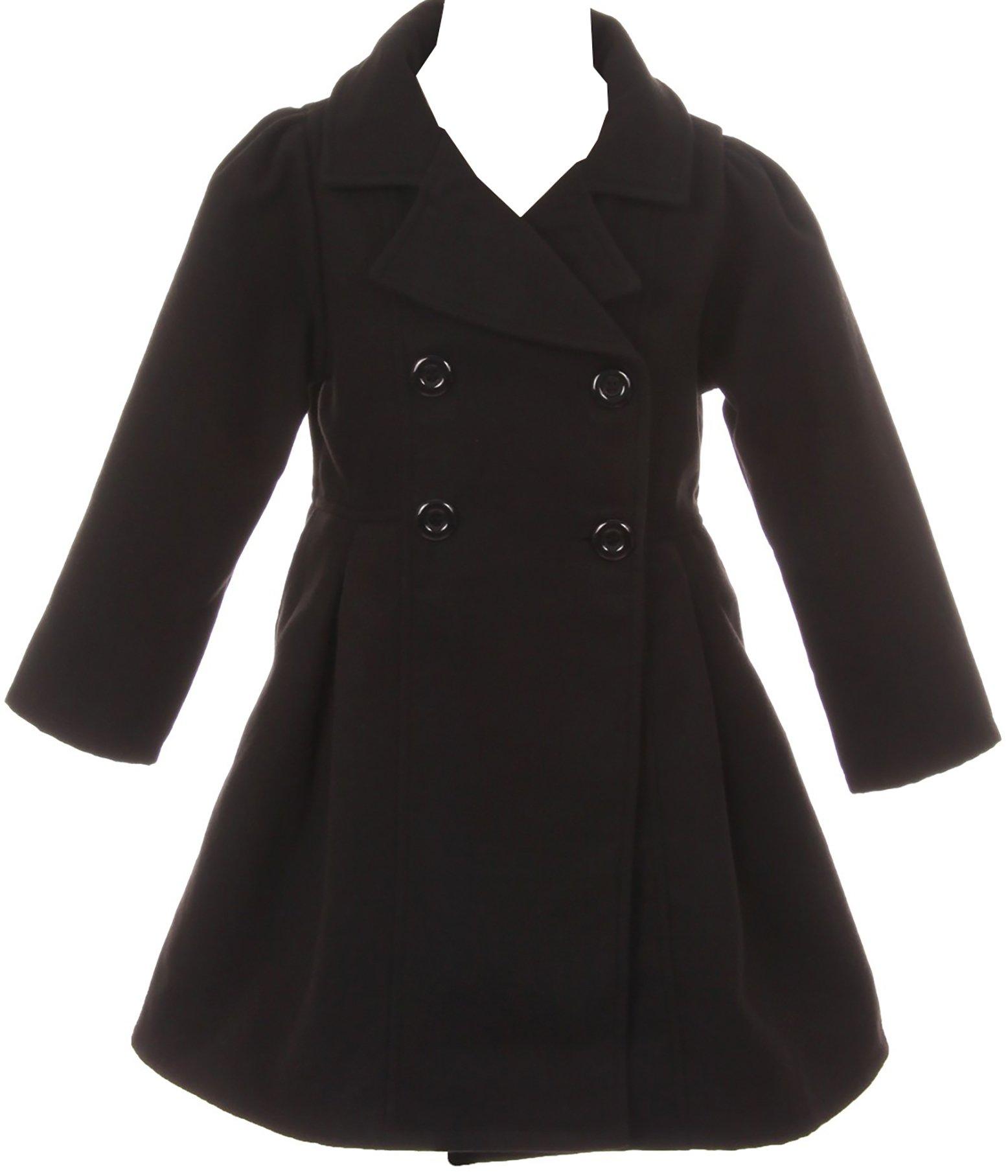 BNY Corner Big Girl Kids Flower Girls Winter Clothes Long Coat Outerwear USA Black 10 JKS 2049