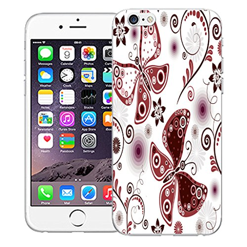"Mobile Case Mate iPhone 6S Plus 5.5"" Silicone Coque couverture case cover Pare-chocs + STYLET - Paisley Butterfly pattern (SILICON)"