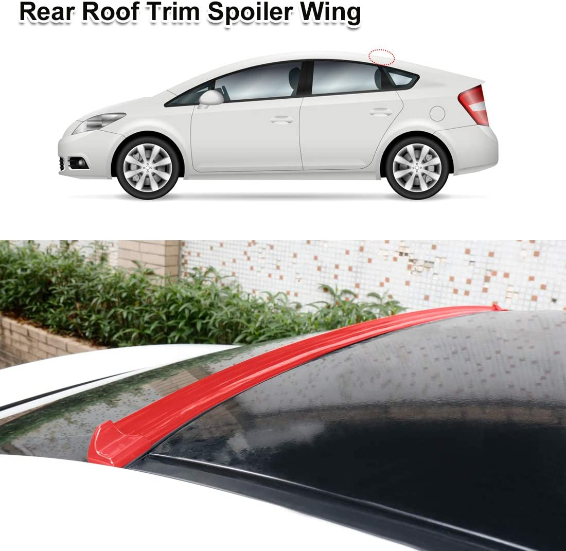 X AUTOHAUX 59 Gloss Red Car Rear Spoiler Wing Rubber Molding Lip Tail Trunk Roof Trim Sticker Universal