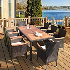 Garden and Outdoor HAPPYGRILL 9-Piece Patio Dining Set Outdoor Rattan Wicker Dining Set with Cushions Garden Dining Set with Acacia Wood… patio dining sets