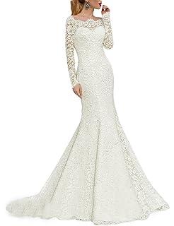 4e57a6f0d471 Pretygirl Womens Lace Mermaid Wedding Dresses Boat Neck Half Sleeve Evening  Dress White