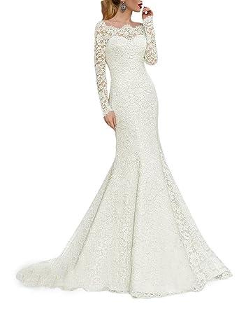 Pretygirl Womens Lace Mermaid Wedding Dresses Boat Neck Half Sleeve ...