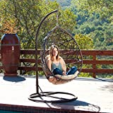 Home Outdoor Patio Brown Wicker Tear Drop Aluminum Swinging Chair with Sturdy Iron Frame Ensures Stability