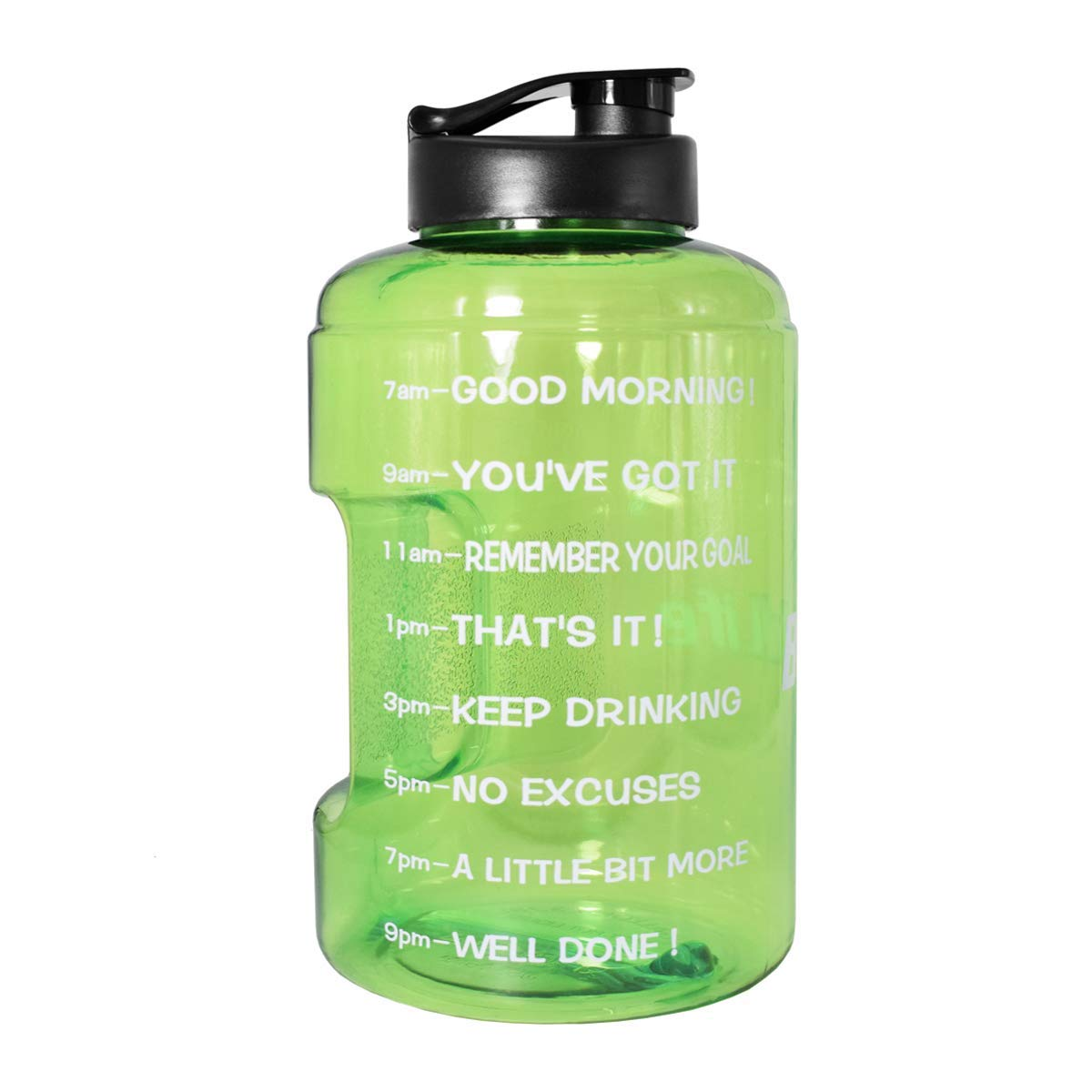 BuildLife 1 Gallon(128OZ) Sports Water Bottle Inspirational Fitness Workout Wide Mouth with Time Marker Measuring Your H2O Intake BPA Free (1 Gallon, Green)