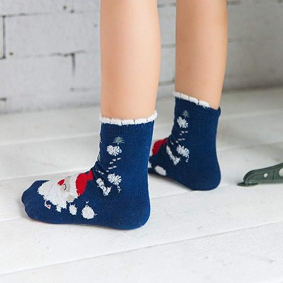 LILICAT❋ Calcetines de algodón con Caja de Regalo Calcetines Infantiles de Dibujos Animados de Papá Noel 3 Pares Invierno Niños Papá Noel Dibujos Animados ...