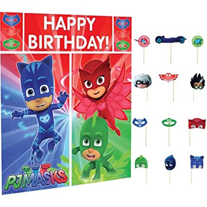 PJ Masks Wall Poster Decorating Kit w/ Photo Props (17pc)