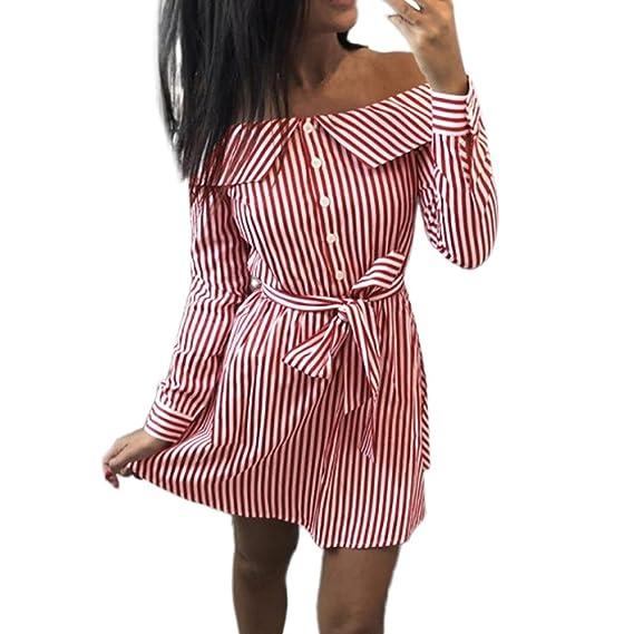 9dec54930d7d32 Kleid Damen Kolylong® Frauen Elegant Trägerloses Gestreift Kleid Langarm  Festlich Schulterfrei Kleid Kurz T-