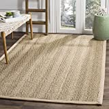 Safavieh Natural Fiber Collection NF115A Herringbone Natural and Beige Seagrass Area Rug (5′ x 8′) For Sale
