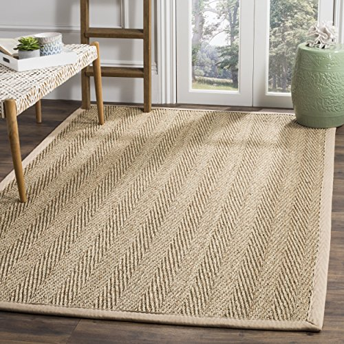 Safavieh Natural Fiber Collection NF115A Herringbone Natural and Beige Seagrass Area Rug (6' x 9') (Sea Grass Rugs)