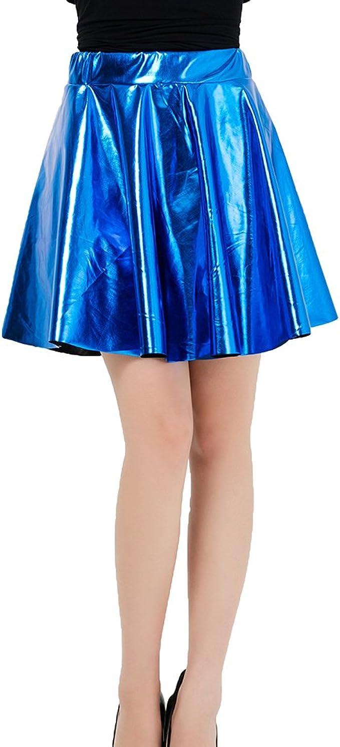 yunhou Moda Mujer Falda Brillante Acampanada Plisada Falda ...