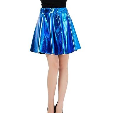 yunhou Moda Mujer Falda Brillante Acampanada Plisada Falda Plisada ...