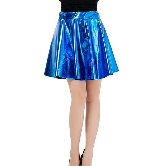 kunfang Falda para Mujer Cintura Alta Faldas de PU Falda Ocio ...