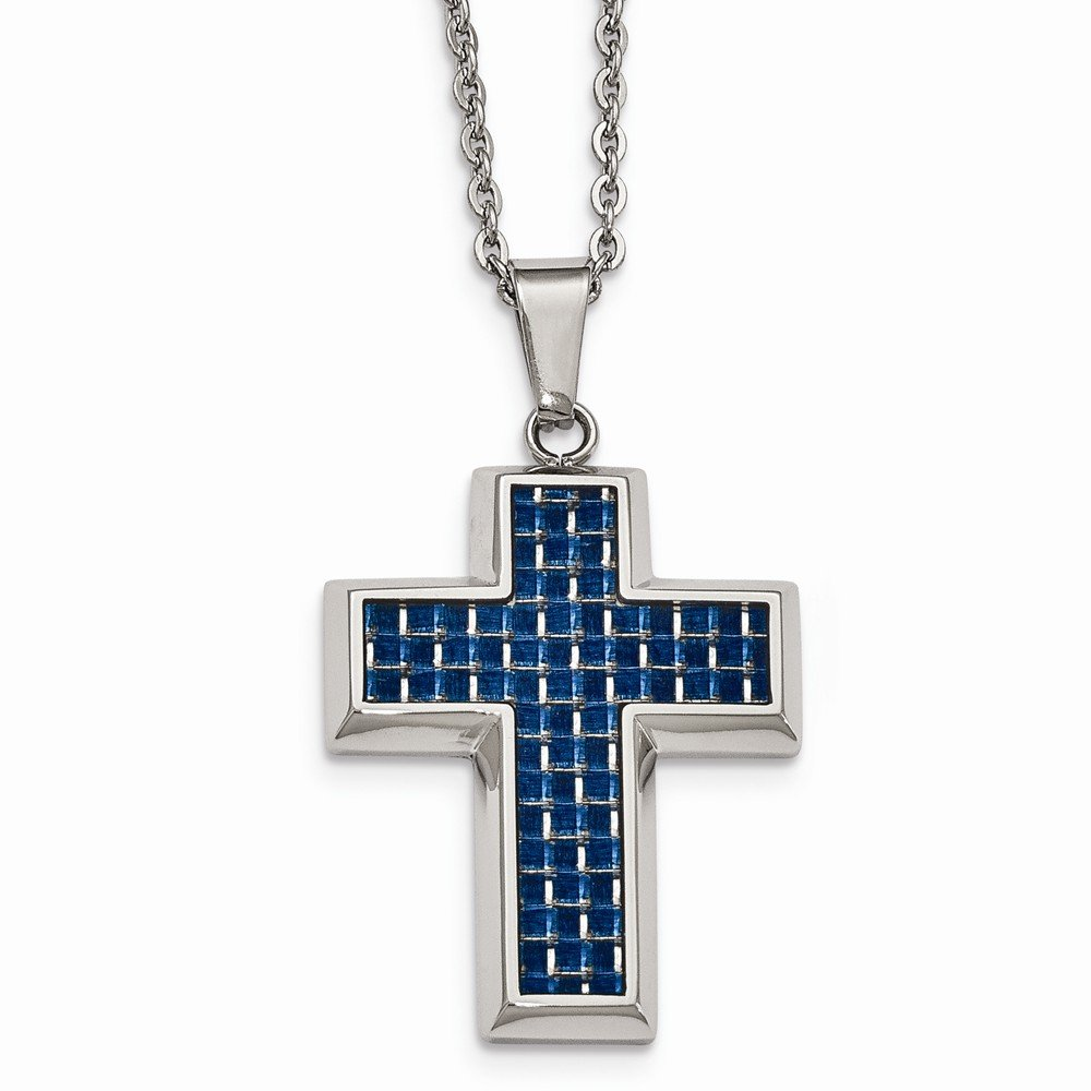 Stainless Steel Polished with Blue Carbon Fiber Cross Necklace
