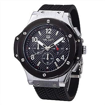 Megir 3002silberschwarz - Reloj para hombres, correa de goma: Amazon.es: Relojes