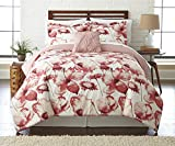 8 Piece Rose Pink Color Floral Comforter Set Queen With Sheet, Milk White Shabby Chic French Country Hippie Boho Printed Reversible Pink Flower Themed Kids Bedding Teen Bedroom, Microfibre Polyester
