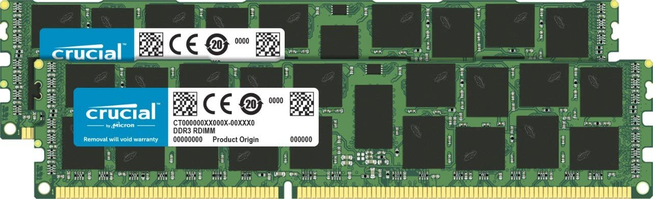 Crucial 32GB Kit (16GBx2) DDR3 1866 MT/s (PC3-14900) RDIMM 240-Pin Memory For Mac Pro Systems (Late 2013) CT2K16G3R186DM