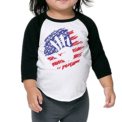 America Flag Palm Baby 100% Cotton Raglan 3/4 Sleeve Baseball T Shirts Tops