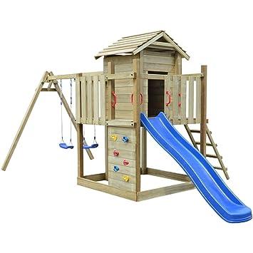 Vidaxl Wooden Playhouse With Ladder Slide Swings Garden Outdoor Kids