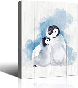 The Melody Art waterclor Penguins in The Snow on Wooden Texture Painting Bedroom Living Room Bathroom Decor Canvas Wall Art 12x16 inch, Framed, 1 Panel