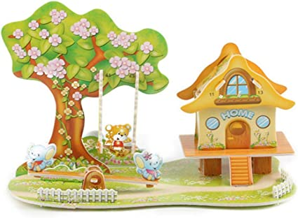 3D Paper Board Puzzle Early Learning Construction Assemble DIY Toy Children Gift