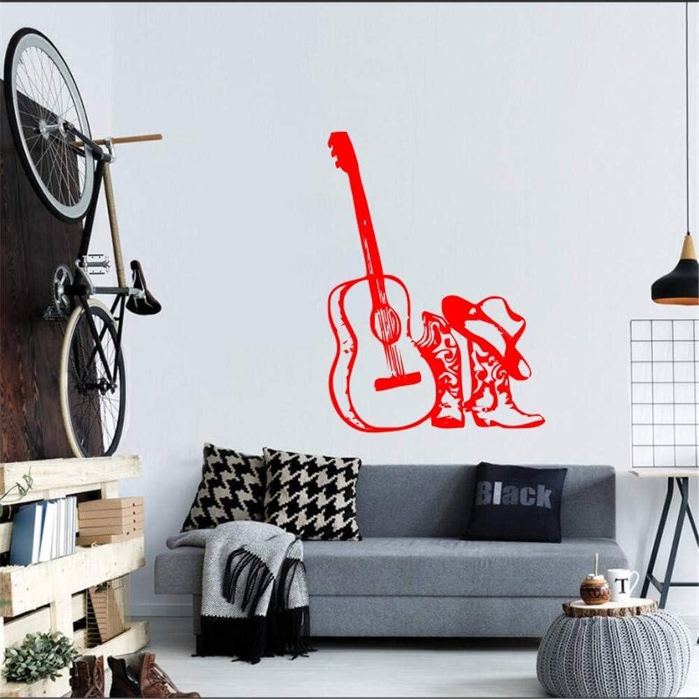 Ajcwhml Guitarra Musical con Botas de Sombrero calcomanías de Vinilo calcomanías para el hogar Estilo de Moda Especial Papel Tapiz Decorativo de Pared Pegatinas calcomanías acústicas 42x58cm: Amazon.es: Hogar