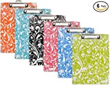 Emraw Paperboard Clipboard Colorful Floral Patterned Large Standard Size Paperboard Assorted Bright Colored Hardboard Set Low Profile Clip - 6 Pack Wall Mount Clip Boards