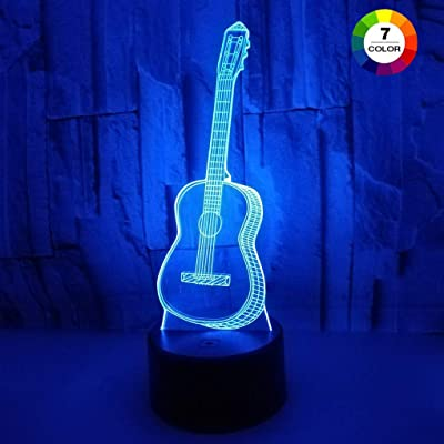AZIMOM 3D Illusion Night Light, 7 Colors Changing Nightlight for Kids with Smart Touch Optical Illusion Bedside Lamps Bedroom Home Decoration for Kids Boys & Girls Women Birthday Gifts (Guitar): Home & Kitchen