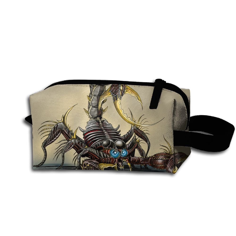 Makeup Cosmetic Bag Scorpion Animal Pattern Zip Travel Portable Storage Pouch For Mens Womens
